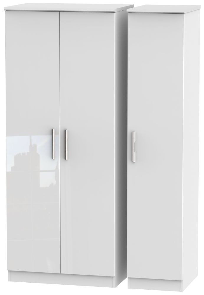 Knightsbridge High Gloss White 3 Door Plain Triple Wardrobe
