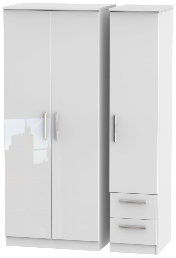 Knightsbridge High Gloss White Triple Wardrobe - Plain with 2 Drawer