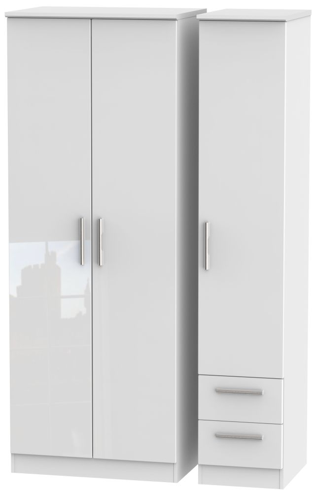 Knightsbridge High Gloss White Triple Wardrobe - Tall Plain with 2 Drawer