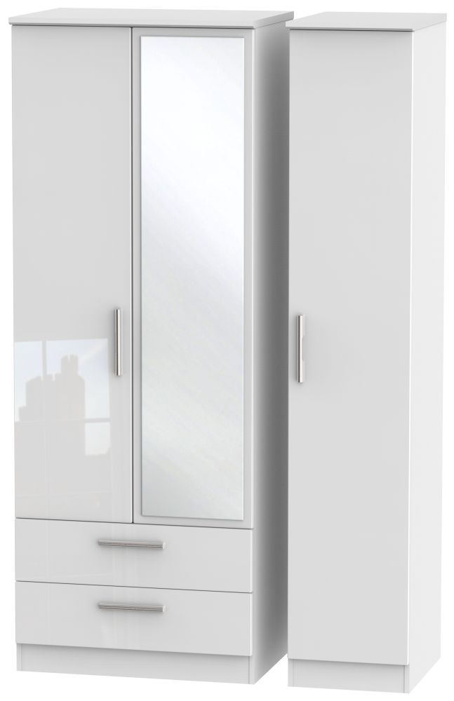 Knightsbridge High Gloss White Triple Wardrobe - Tall with 2 Drawer and Mirror