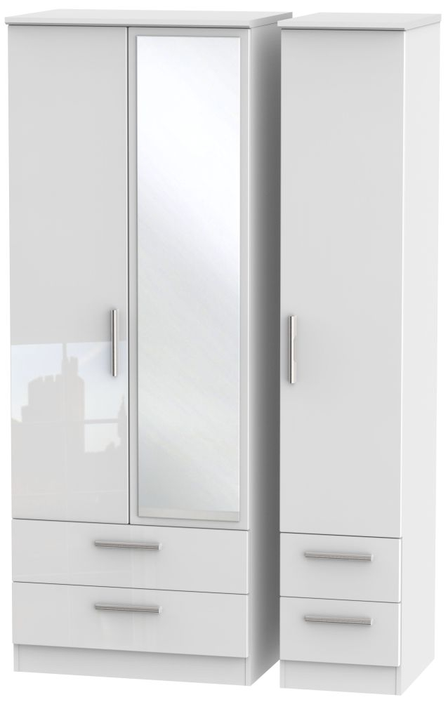 Knightsbridge High Gloss White Triple Wardrobe - Tall with Drawer and Mirror
