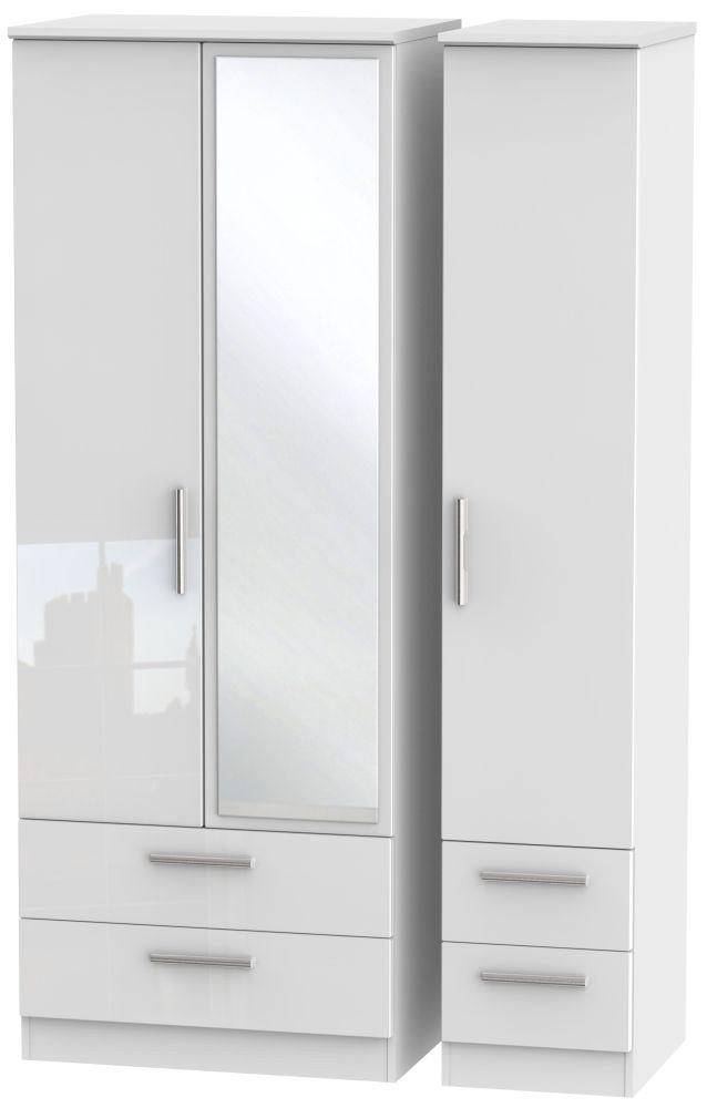 Knightsbridge High Gloss White 3 Door 4 Drawer Tall Mirror Triple Wardrobe