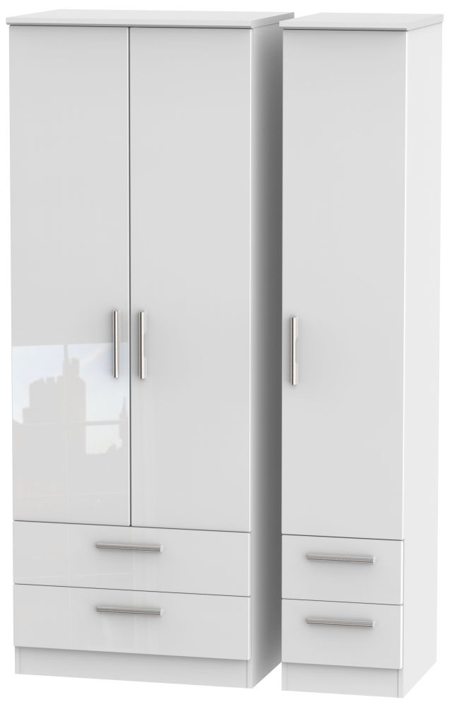 Knightsbridge High Gloss White Triple Wardrobe - Tall with Drawer