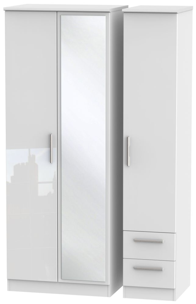 Knightsbridge High Gloss White Triple Wardrobe - Tall with Mirror and 2 Drawer