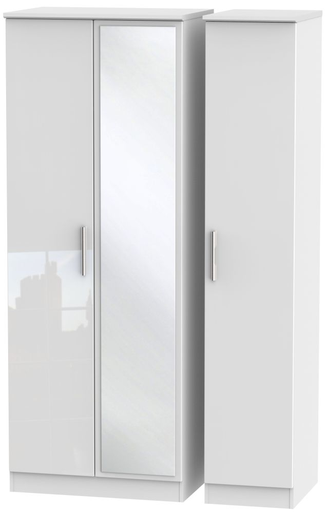 Knightsbridge High Gloss White Triple Wardrobe - Tall with Mirror