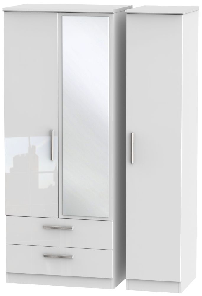 Knightsbridge High Gloss White 3 Door 2 Left Drawer Mirror Triple Wardrobe