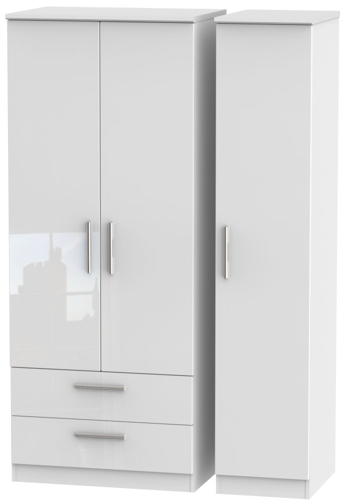 Knightsbridge High Gloss White 3 Door 2 Drawer Triple Wardrobe