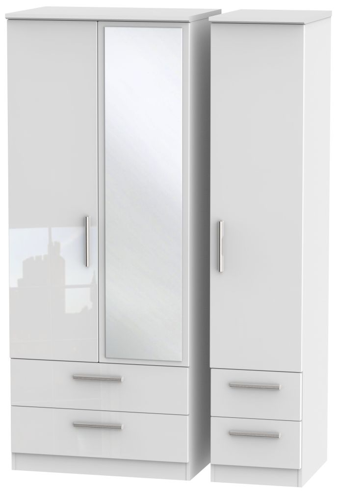 Knightsbridge High Gloss White Triple Wardrobe with Drawer and Mirror