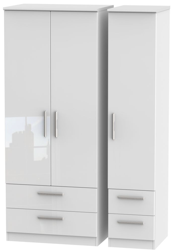 Knightsbridge High Gloss White 3 Door 4 Drawer Wardrobe