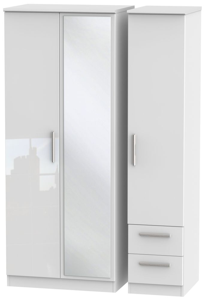 Knightsbridge High Gloss White Triple Wardrobe with Mirror and 2 Drawer