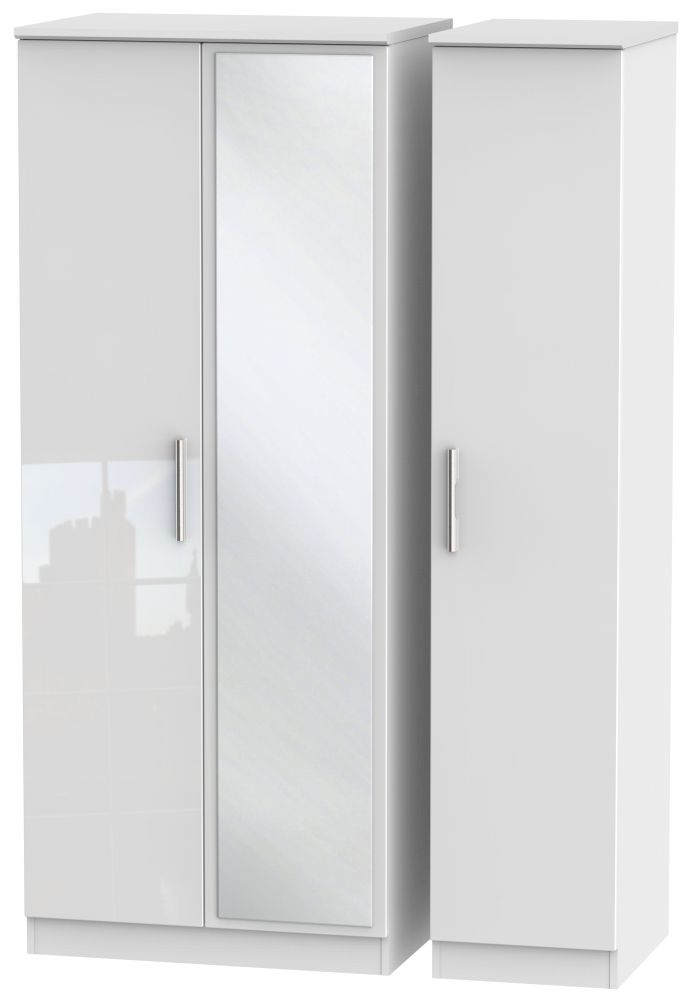 Knightsbridge High Gloss White Triple Wardrobe with Mirror