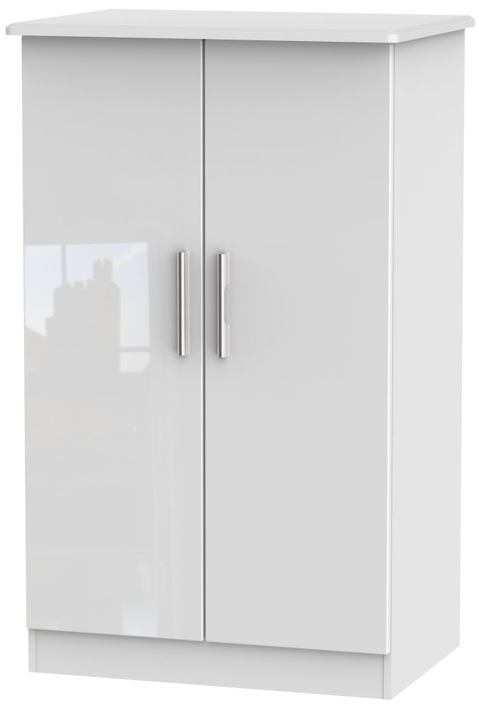 Knightsbridge High Gloss White 2 Door Plain Midi Wardrobe