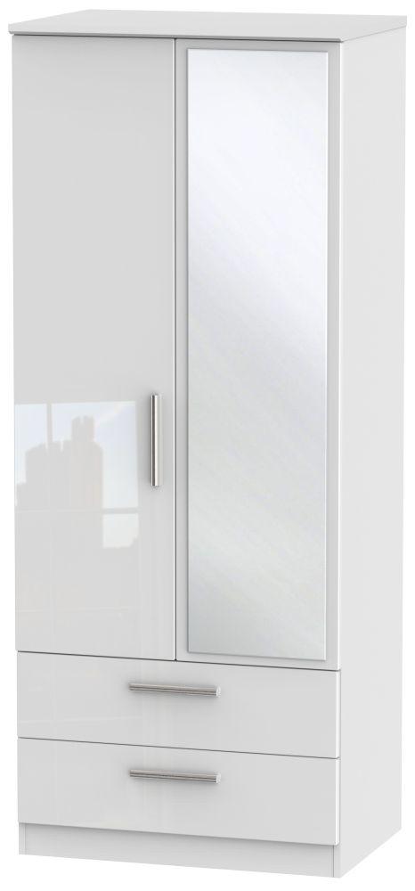 Knightsbridge High Gloss White 2 Door Combi Wardrobe
