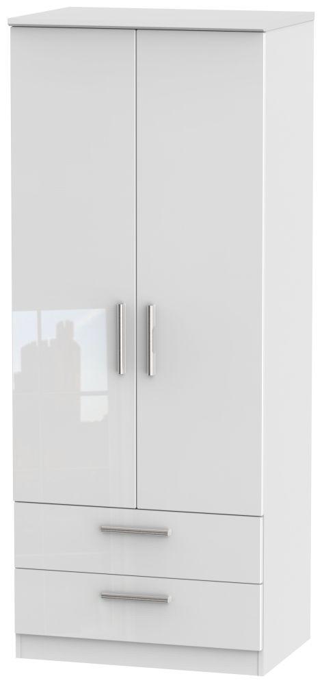 Knightsbridge High Gloss White 2 Door 2 Drawer Wardrobe