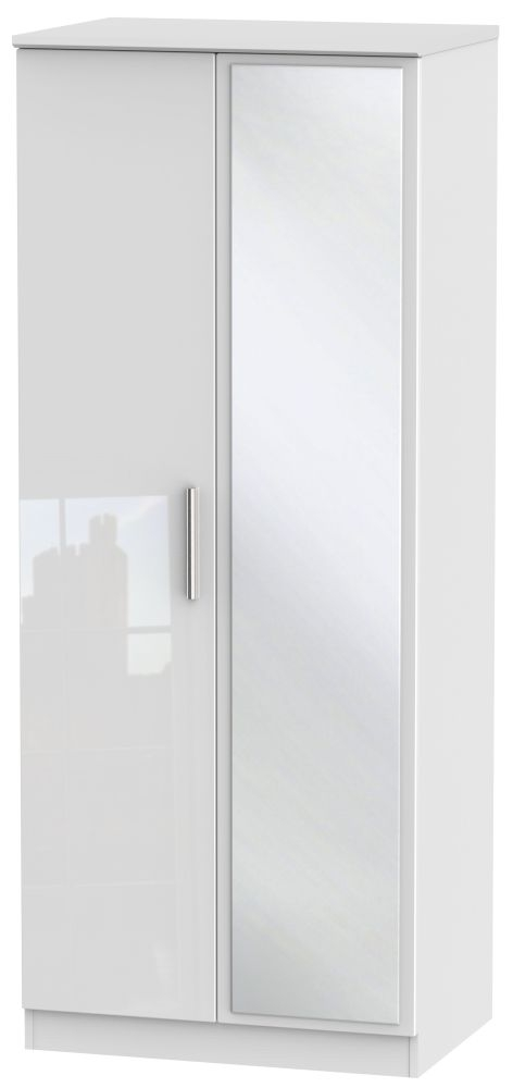 Knightsbridge High Gloss White 2 Door Mirror Wardrobe
