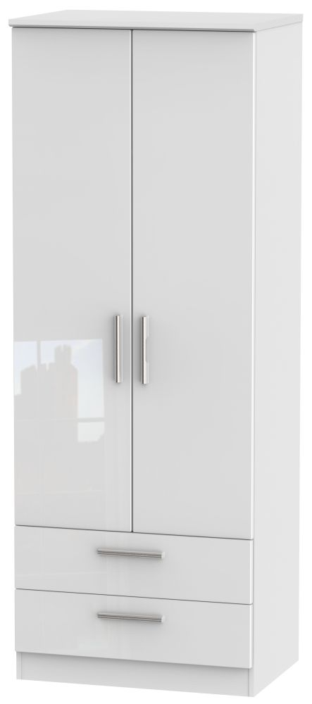 Knightsbridge High Gloss White Wardrobe - Tall 2ft 6in with 2 Drawer