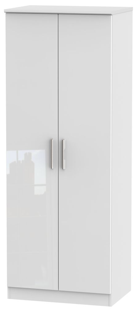 Knightsbridge High Gloss White Wardrobe - Tall 2ft 6in with Plain
