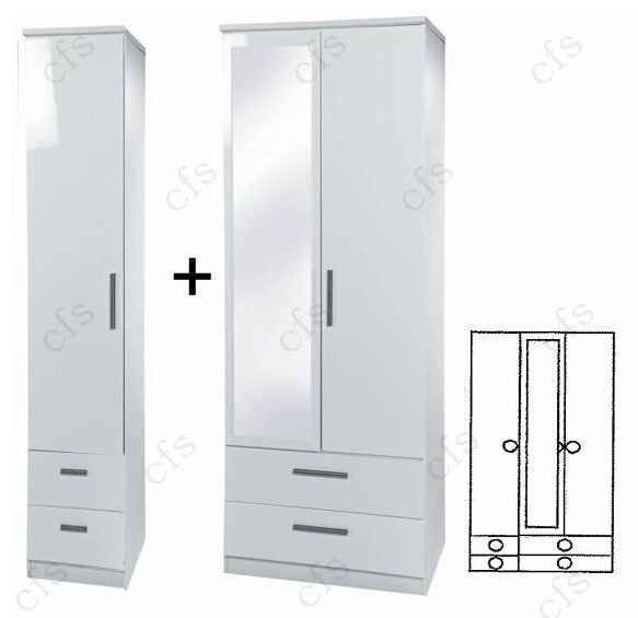 Knightsbridge White 3 Door Combi Wardrobe with Drawer and Mirror