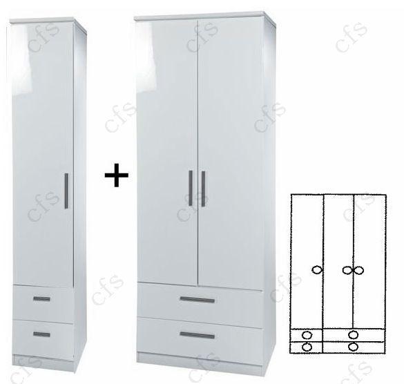 Knightsbridge White 3 Door Combi Wardrobe with Drawer