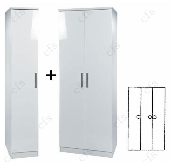 Knightsbridge White 3 Door Plain Wardrobe