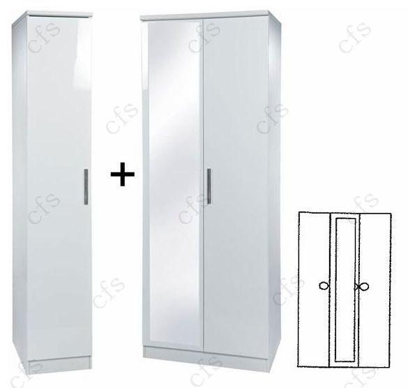 Knightsbridge White 3 Door Wardrobe with Mirror