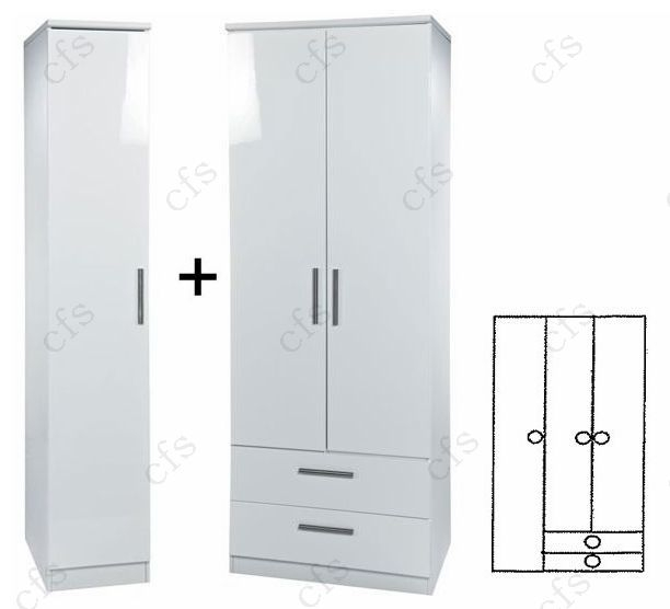 Knightsbridge White 3 Wardrobe wit 2 Drawer