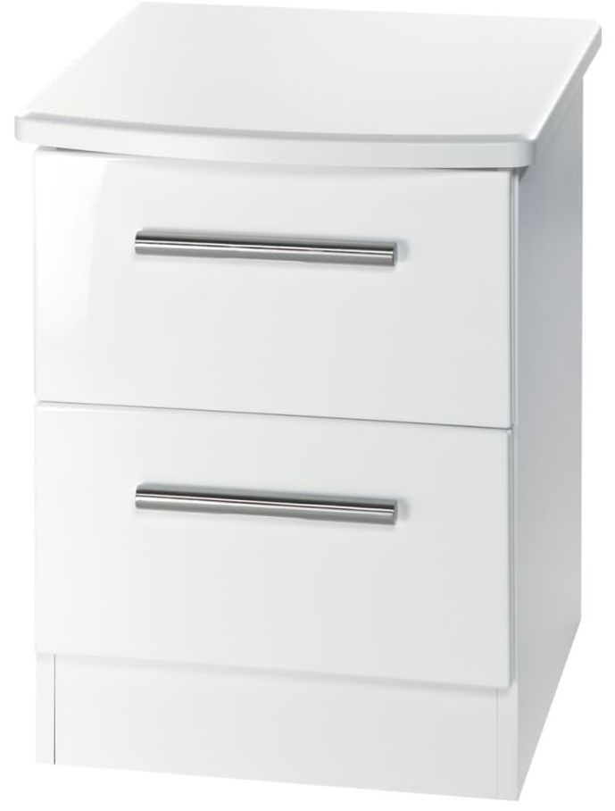 Knightsbridge White Bedside Cabinet - 2 Drawer Locker