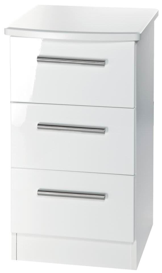 Knightsbridge White Bedside Cabinet - 3 Drawer Locker