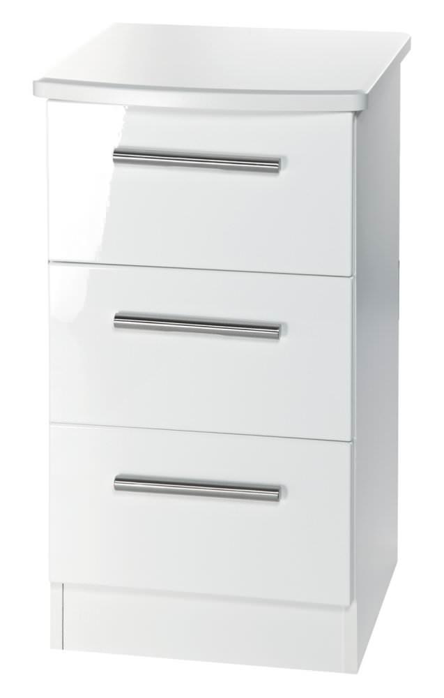 Knightsbridge White Bedside Cabinet - 3 Drawer