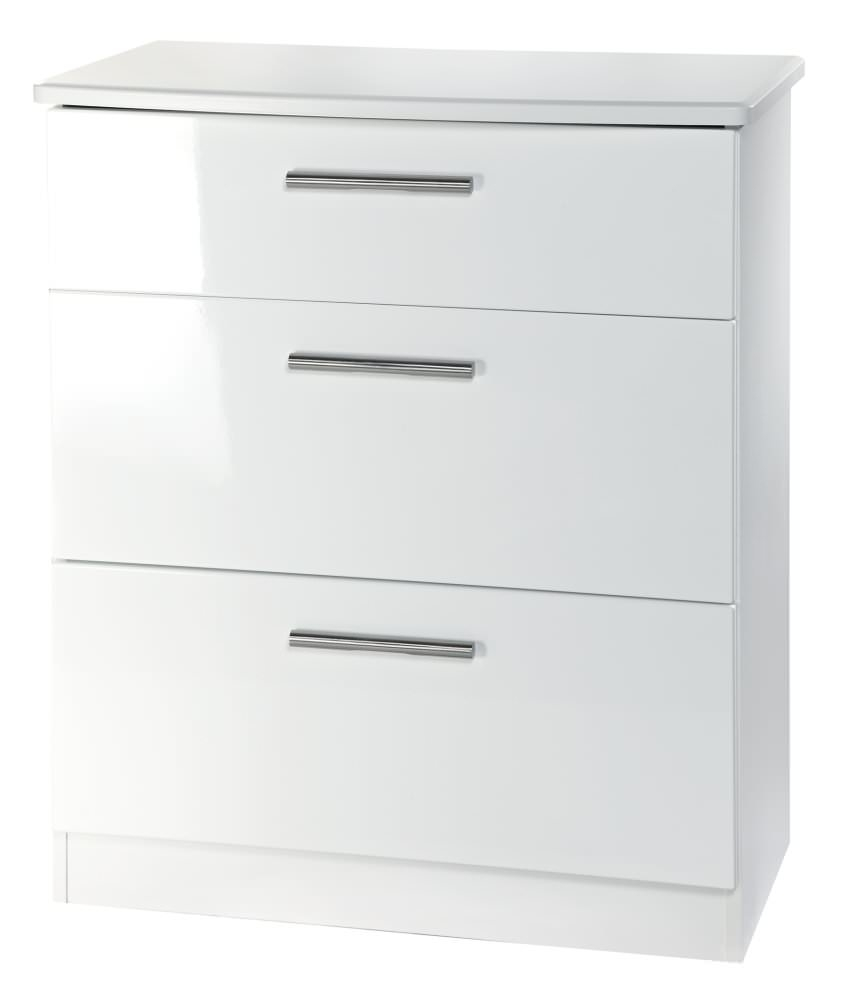 knightsbridge white chest of drawer 3 drawer deep welcome