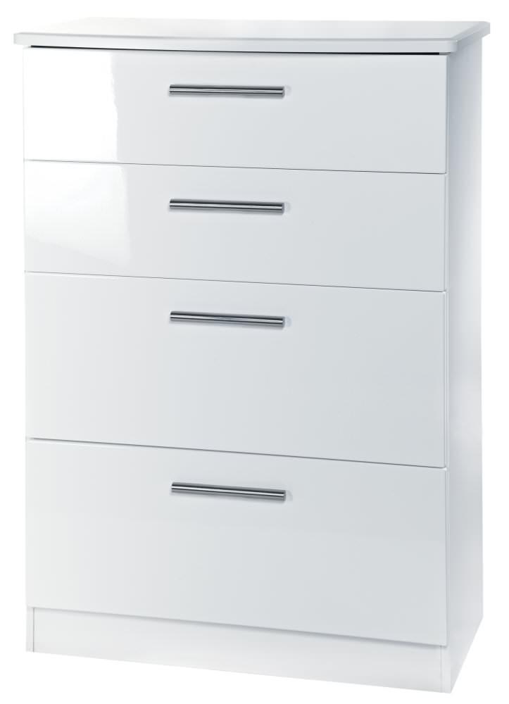 knightsbridge white chest of drawer 4 drawer deep welcome furniture. Black Bedroom Furniture Sets. Home Design Ideas