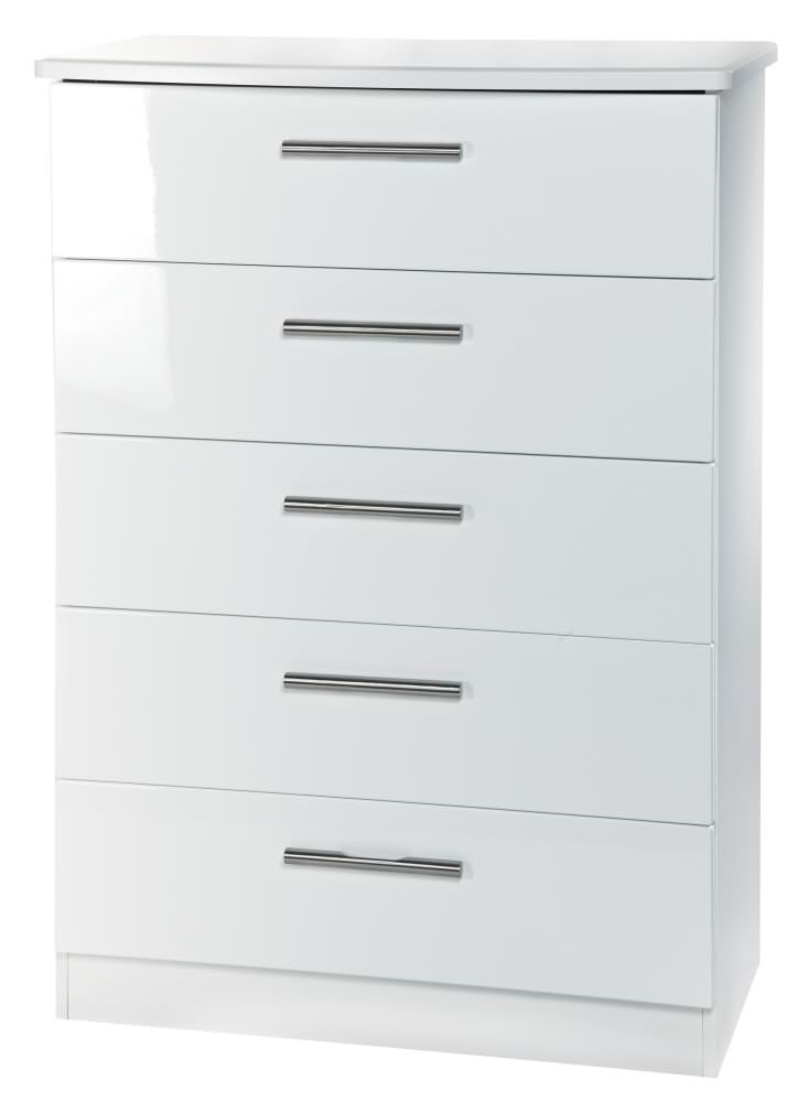 Knightsbridge White Chest of Drawer - 5 Drawer