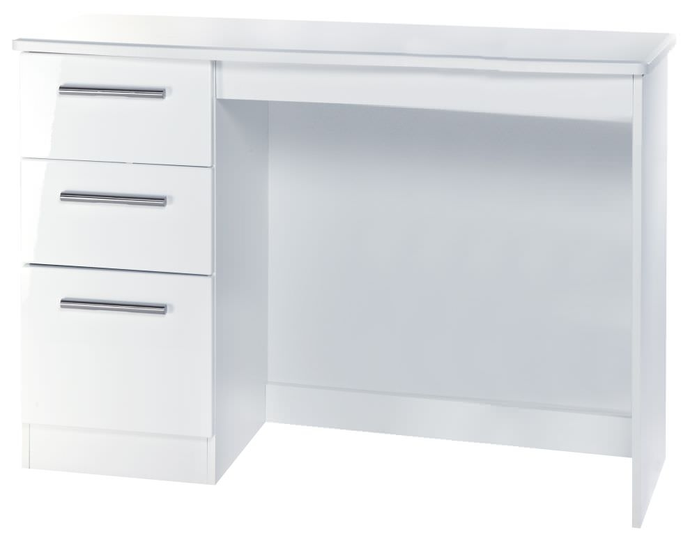 Knightsbridge White Desk - 3 Drawer