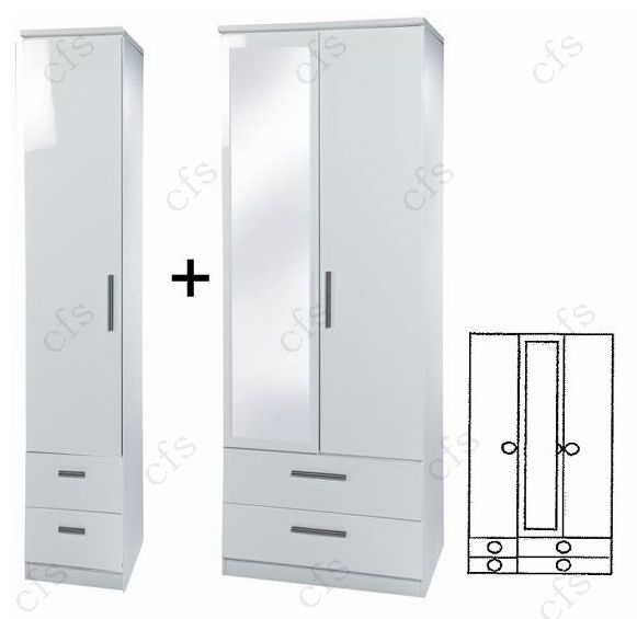 Knightsbridge White Tall 3 Door Combi Wardrobe with Drawer and Mirror
