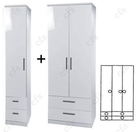 Knightsbridge White Tall 3 Door Combi Wardrobe with Drawer