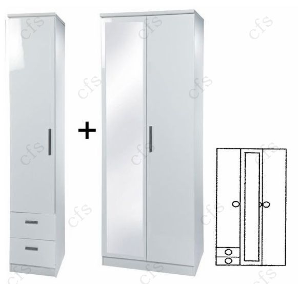 Knightsbridge White Tall 3 Door Wardrobe with Mirror and Drawer