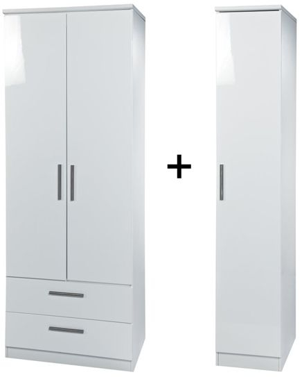 Knightsbridge White Tall Triple 2 Drawer Wardrobe