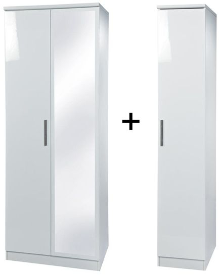 Knightsbridge White Tall Triple Mirror Wardrobe