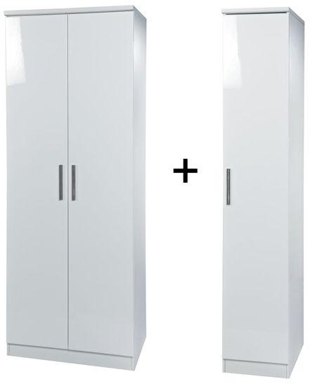 Knightsbridge White Tall Triple Plain Wardrobe