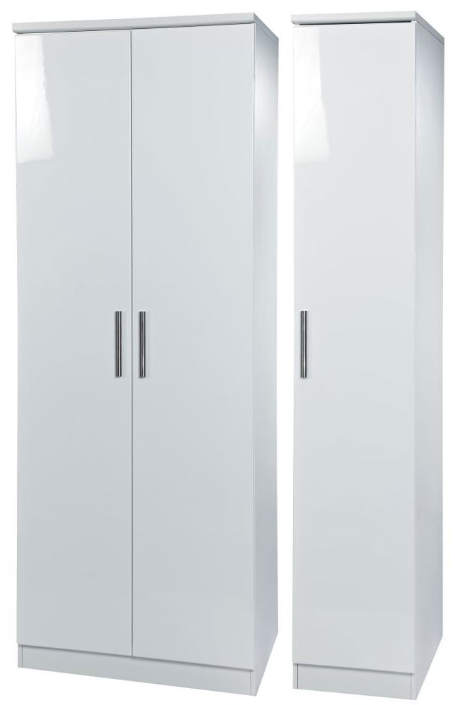 Knightsbridge White Triple Plain Wardrobe