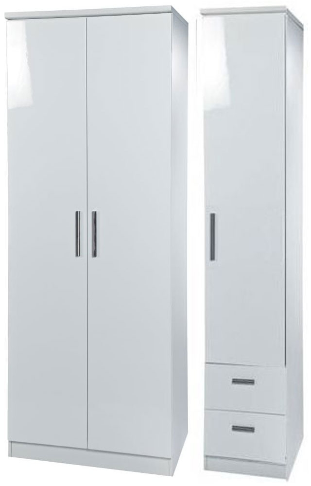 Knightsbridge White Triple Wardrobe - Plain with 2 Drawer