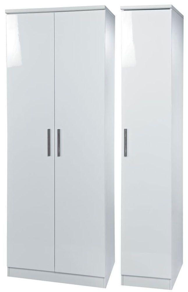 Knightsbridge White Triple Wardrobe - Tall Plain