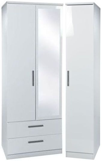 Knightsbridge White Triple Wardrobe - Tall with 2 Drawer and Mirror