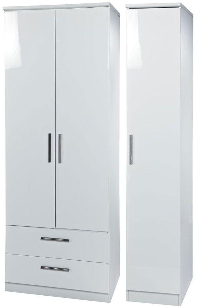 Knightsbridge White Triple Wardrobe - Tall with 2 Drawer