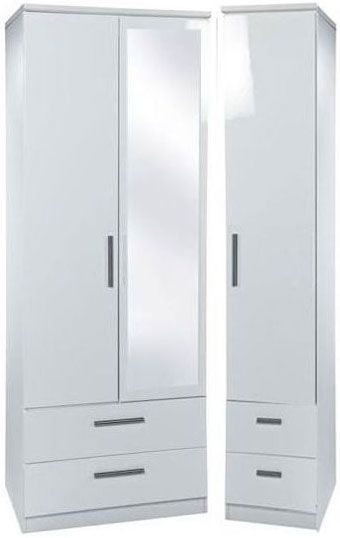 Knightsbridge White Triple Wardrobe - Tall with Drawer and Mirror