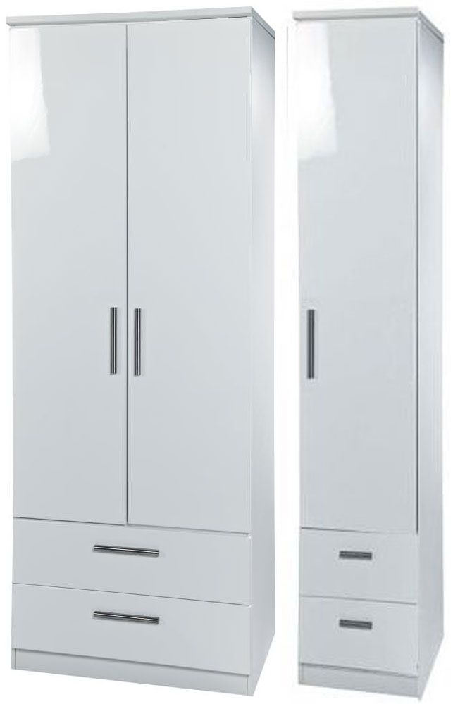 Knightsbridge White Triple Wardrobe - Tall with Drawer