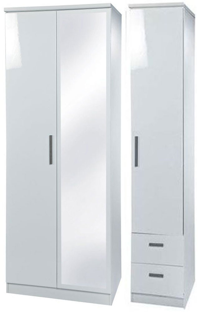 Knightsbridge White Triple Wardrobe - Tall with Mirror and 2 Drawer