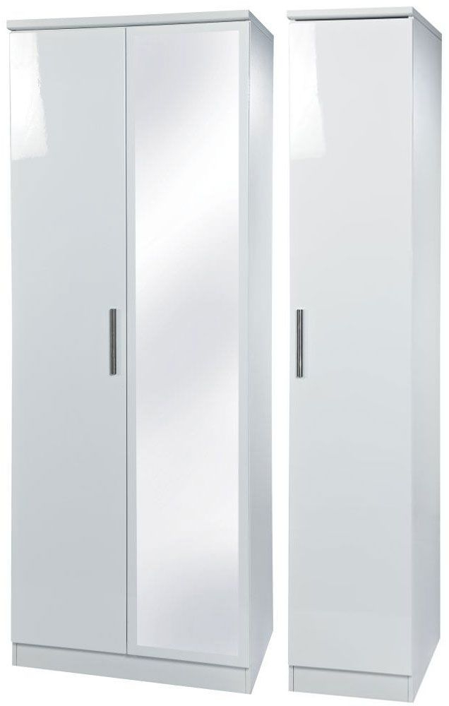 Knightsbridge White Triple Wardrobe - Tall with Mirror