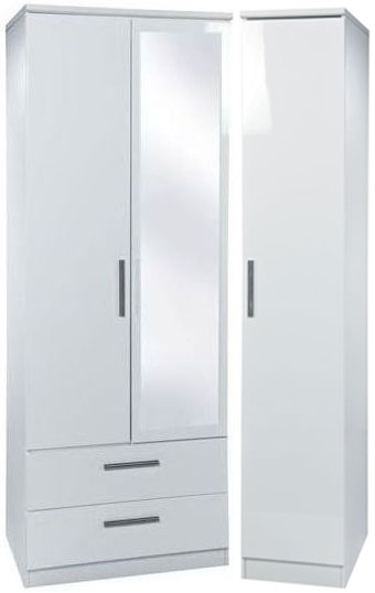 Knightsbridge White Triple Wardrobe with 2 Drawer and Mirror