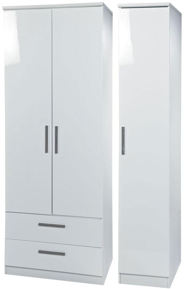 Knightsbridge White Triple Wardrobe with 2 Drawer
